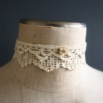 Handmade Choker Necklace Vintage Upcycled Crochet Lace Jewelry