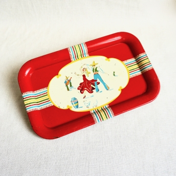 Vintage Tin Metal Litho Serving Tray 1950s Mexican Southwest Flamenco Dancers