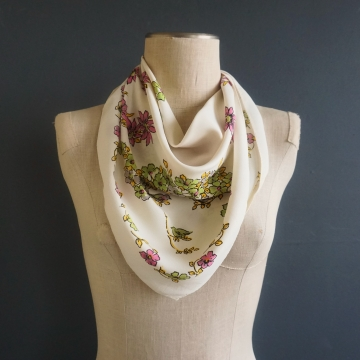 Vintage Fashion Accessory Square Floral Bird Print Scarf