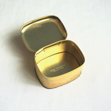 Vintage Small Floral Tin Hinged Lid Container