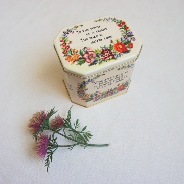 Vintage Tin Monday's Child Poem Hinged Lid Container
