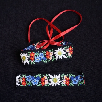 Handmade Choker Cuff Set Vintage Embroidered Ribbon Jewelry