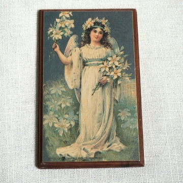 Vintage Small Floral Angel Lilies Wall Hanging Wood Plaque