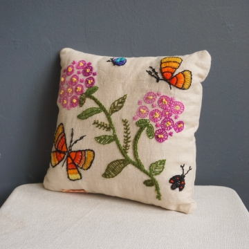 Vintage Embroidered Floral Butterflies Needlepoint Linen Decorative Throw Pillow