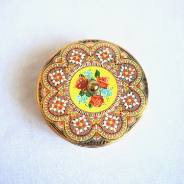 Vintage Daher Embossed Floral Collectible Tin Knob Lid Made in England