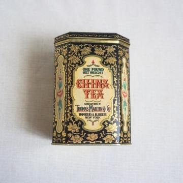Vintage Tea Tin Thomas Martin Daher Hinged Lid Container