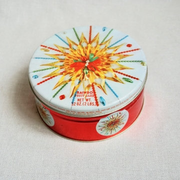 Vintage Rainbow Fruitcake Christmas Tin Round Colorful Lidded Holiday Container