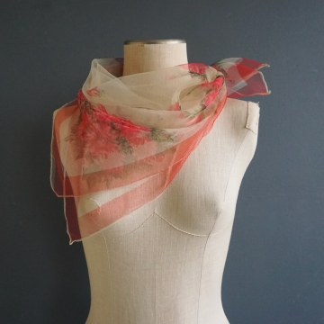 Beautiful Vintage Sheer Floral Chiffon Scarf Accessory Made in Japan