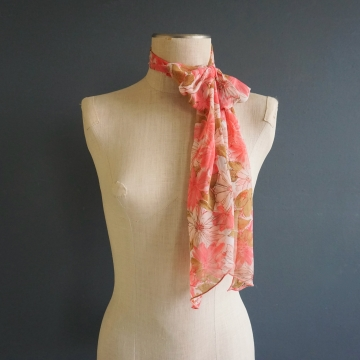 Vintage Sheer Pink Floral Polyester Long Rectangle Scarf Accessory