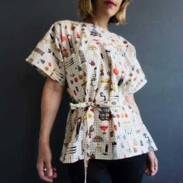 Handmade Women's OOAK Top Upcycled Vintage Cotton Fabric