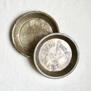 "Two Vintage 9"" Pie Tins Blue Bird & New England Table Talk"