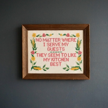 Vintage Cross Stitch Hand Sewn Framed Cottage Style Wall Decor