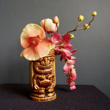 Vintage Ceramic Tiki Cup Vase Double Sided Totem