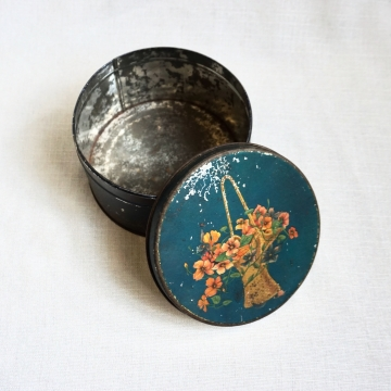 Antique Vintage Round Floral Bue Teal Tin Container