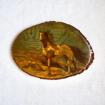 Vintage Decoupage Natural Wood Slice Horse Plaque Wall Hanging