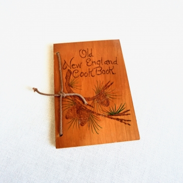 Vintage Old New England Cook Book Wood Pinecones Cover 1966