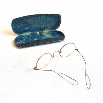 Antique Round Wire Eyeglasses with Case S.P.A.